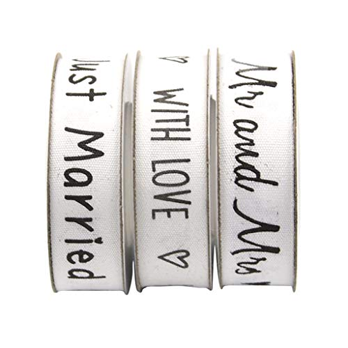 Fenteer 15 Meters White Cotton Decorative Printed Ribbon Trim Embellishment 'Mr and Mrs' 'Just Married' 'with Love' ()