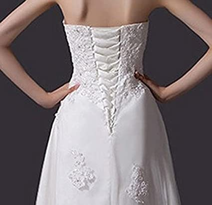 QiJunGe Country Lace Wedding Dresses Strapless Asymmetrical Lace Bridal Dress