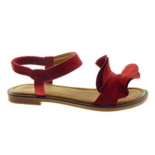 Angkorly Zapatillas Moda Sandalias Correa de Tobillo Mujer con Volante Tacón Ancho 1.5 cm Rojo