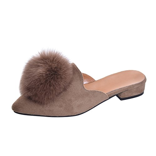 Yellow Tree Company Women's Pom Pom Slides Mules Pointed Toe Backless Loafers Ladies Clog Slippers Brown