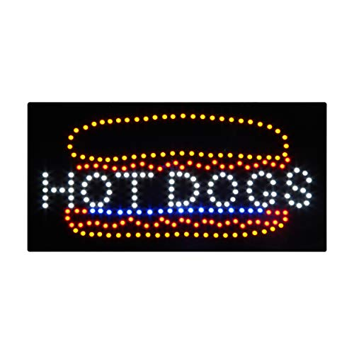 (LED Hot Dog Open Light Sign Super Bright Display Board for Pizza Burger Sandwich Sausage Quick Bite Food Restaurant Business Shop Store Window Advertisement 24 x 12 inches)