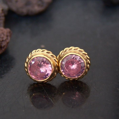 Sterling Silver Ancient Roman Art Pink Topaz Stud Earrings 24k Gold Vermeil Handcrafted Turkish Designer Jewelry Women Earrings