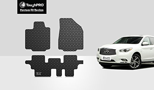 ToughPRO Floor Mats Set (Front Row + 2nd Row) Compatible with Infiniti QX60 - All Weather - Heavy Duty - (Made in USA) - Black Rubber - 2014, 2015, 2016, 2017, 2018, 2019