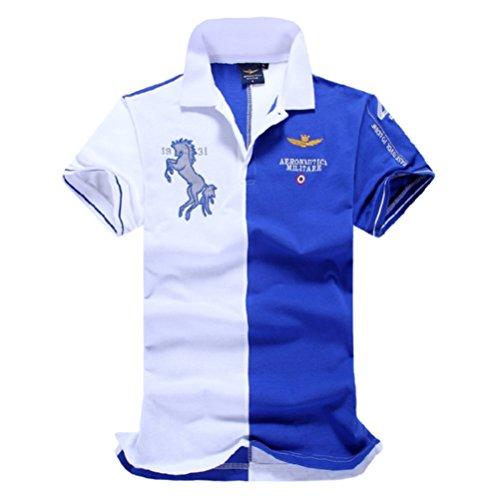 メンズ ポロシャツ 半袖 Tシャツカジュアル 紳士ポーツゴルフ シャツおしゃれ 2018人気新品3カラー (ブルー, XXL)