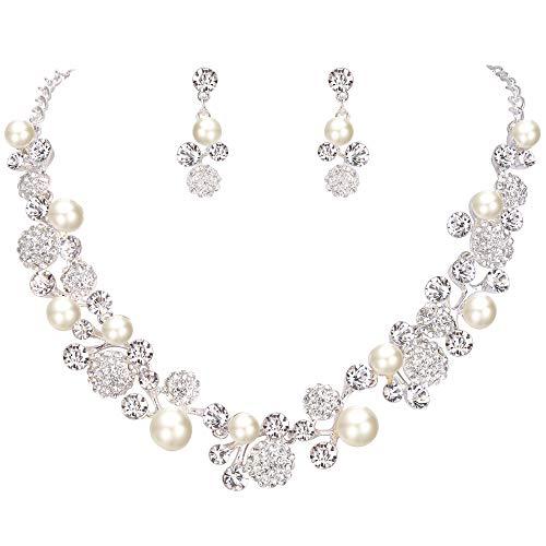 FANZE Women's Round Austrian Crystal Cream Simulated Pearl Flower Bud Vine Necklace Earrings Wedding Jewelry ()