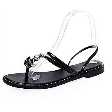 Frauen 039 s Sandalen Komfort PU Sommer Casual Comfort Schwarz Weiß FlatBlackUS 5 EU 35 UK 3 CN34