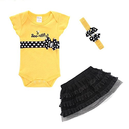 LittleSpring Baby Girls' Skirt Set Bow Handband Size 9M Yellow (Infant Halloween Outfits)