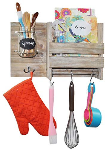 Spiretro Wall Mount Floating Shelf Organizer, Key Leash Bag Kitchenware Hook Rack Hang, Dish Recipe Mail Newspaper Display, Spoon Storage, Home Decor Entryway Kitchen Laundry, Rustic Torched Wood