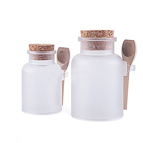 2PCS Empty Clear Frosted Thick Plastic Bath Salt Seasoning Sauce Jar Container - Dressing Cruet Powder Bottle Pot with Cork Cap and Spoon (200ml/ 6.7oz)