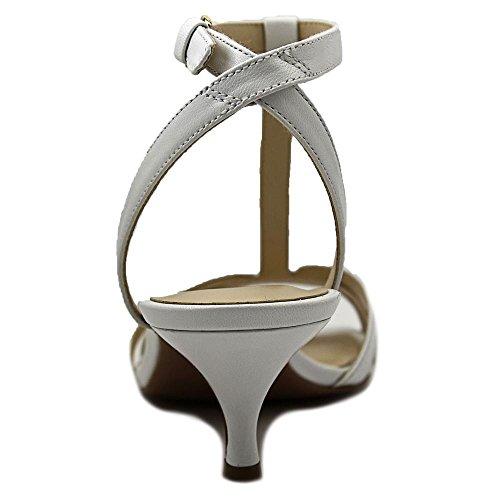 Nine West Odarlin sandalias de vestir de cuero de los zapatos blanco