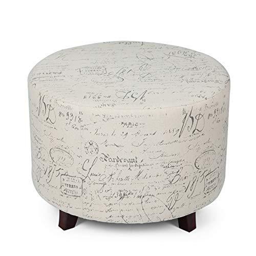 Edeco Fabric Script Round Ottoman