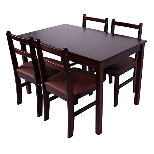Giantex 5 Pcs Pine Wood Dining Set Table And 4 Upholstered Chair Breakfast Furniture (Reddish Brown)