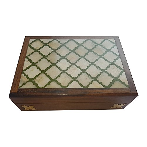 Handcrafted Storage Box in Rose Wood Brass and Bone Inlay on Top to Keep Jewelry and Precious Collection