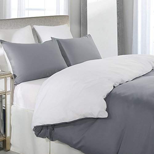 Duvet Cover Set, Reversible Color Design, Grey and White