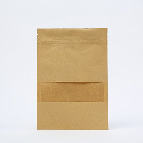 Stand-up Zip Kraft Paper Bags Food Bags Gift Bags with Clear Window (Pack of 50, 5.5x7.9 Inch)