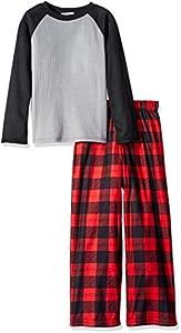 Komar Kids Boys' Big Boys' Red Buffalo Check 2pc Sleepwear Set