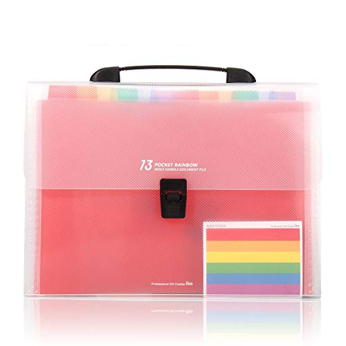 (HJSMing 11 13 Pockets-Handle Portable Expandable Multicolor A4 Accordion File Manager/Business Office Student Plastic Folder Organizer)