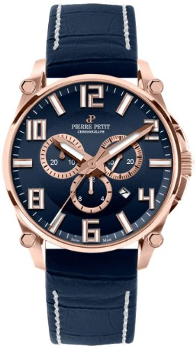 Pierre Petit Men's Quartz Watch Le Mans P-827D with Leather Strap