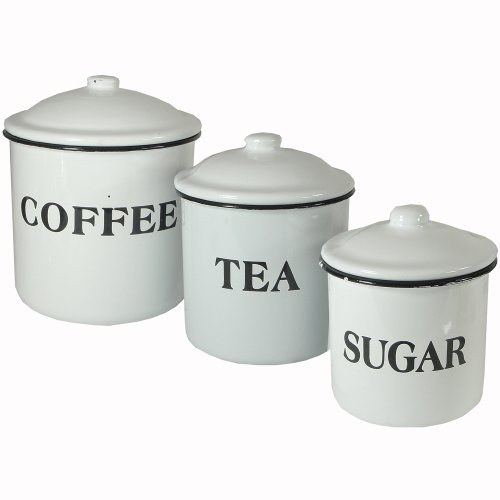 Creative Co-op DA1985 Metal Containers with Lids, Coffee, Tea, Sugar, Set of 3, White