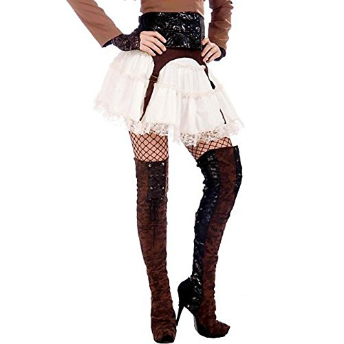 [Forum Novelties Steampunk Thigh High Boot Tops, Black/Brown, One Size] (Steampunk Pirate)