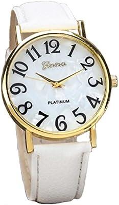Xinantime Relojes Pulsera Mujer,Xinan Digital Retro Dial Cuero Banda Relojes de Cuarzo (Blanco)