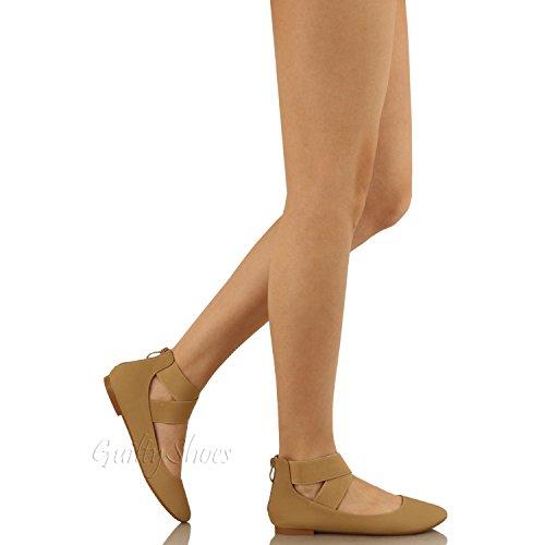 Guilty Schuhe Damen Classic Comfort Elastic Crossing Straps - Stretchy Ballerina Ballerinas Schuhe Dktaupe Nubuk