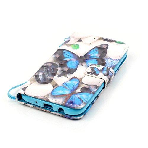 Funda Samsung Galaxy J5 2015, Cráneo Funda Libro de Cuero Flip Cover con TPU Case Interna Para Samsung Galaxy J5 2015, Wallet Case con Soporte Plegable, Ranuras para Tarjetas y Billete Mariposa azul