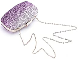 Yuenjoy Womens Evening Bags Wedding Clutch Purse with Gradient Colors Glitter (Purple / Silver)