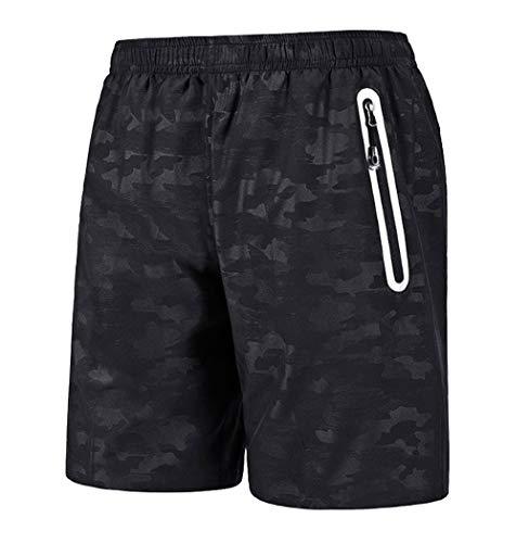 Men Hawaiian Swim Trunks Quick Dry Beach Surfing Running Swimming Print Short Pant (XL, Black)