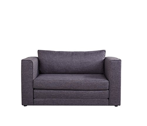 Container Furniture Direct Ava Collection Modern Reversible Fabric Upholstered Living Room Loveseat and Sofa Bed, Dark Grey