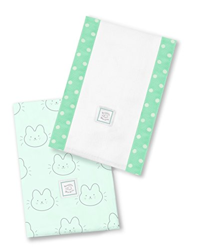 2 Boutique Baby Burp Cloths - SwaddleDesigns Baby Burpies, Set of 2 Cotton Burp Cloths, Bonjour Bunnie on SeaCrystal