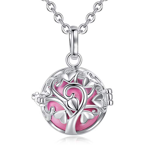 - EUDORA Sterling Silver Angel Chime Caller Baby Pendant Chimes Bell Harmony Ball Mexican Bola Chain Necklace