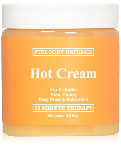 Pure Body Naturals Hot Cream for Cellulite Reduction, Skin Toning and Slimming, Deep Muscle Relaxation, 8.8 Ounce Hot Creme