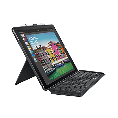 (Logitech iPad Pro 12.9 inch Keyboard Case | SLIM COMBO with Detachable, Backlit, Wireless Keyboard and Smart Connector (Black) For 1st and 2nd)