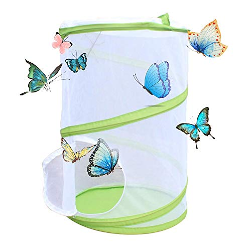 (Lorchwise Large Size Collapsible Insect and Butterfly Habitat Cage, Garden Mesh Raising Insects Breeding Net Terrarium Pop-up for Kids Raising Insects Outdoor Activities,35x35x50CM)
