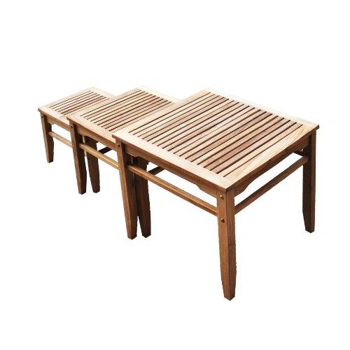 Teak Wood Nesting Table - Set of 3 - Space Saving Outdoor Patio Furniture
