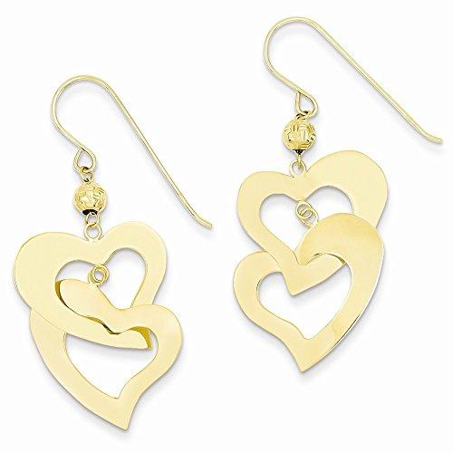 Flat Open Heart Earring (14k Yellow Gold Flat Open Hearts Dangle)