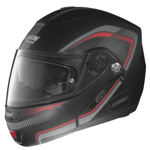 Nolan N-91 N-Com Revenge Helmet , Distinct Name: Flat Black/Red/Anthracite, Gender: Mens/Unisex, Helmet Category: Street, Helmet Type: Modular Helmets, Primary Color: Black, Size: Md N915277010072