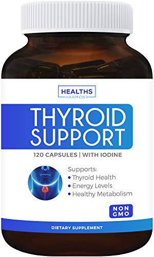 Thyroid Support with Iodine (120 Capsules & Non-GMO) Improve Your Energy & Increase Metabolism for Weight Loss - Ashwagandha Root - Thyroid Health Complex Supplement