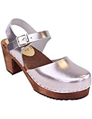 Lotta From Stockholm Swedish Clogs Highwood In Silver With Brown Sole