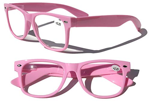2 or 4 Pairs Deluxe Reading Glasses - Comfortable Stylish Simple Readers Rx Magnification (2 Pink, 1.50)