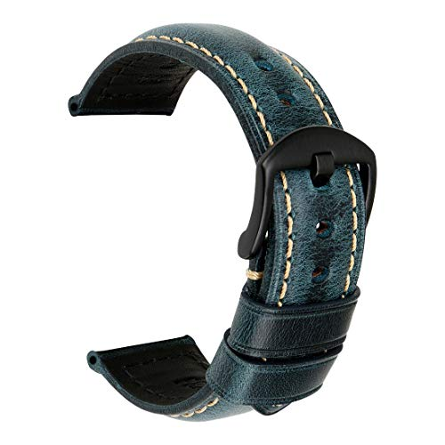MAIKES Vintage Oil Wax Leather Strap Watch Band 5 Colors Available 20mm 22mm 24mm 26mm Watchband with Stainless Steel Buckle (Band Width 26mm, Blue+Black Clasp)