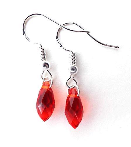 Christmas Red Crystal Small Teardrop Earrings Sterling Silver Ear Wires