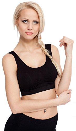 Gatta costura para camisetas de mujer BH de los deportes de Fitness para mujer negro