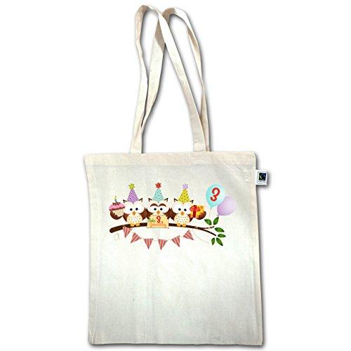 Compleanno Bambino - 3 ° Compleanno Gufi Partito Dolce - Unisize - Naturale - Xt600 - Manici Lunghi Borsa Juta