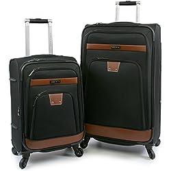 Perry Ellis Premise Expandable Rolling Spinner Fashion Designer Travel Luggage Set, Black, One size