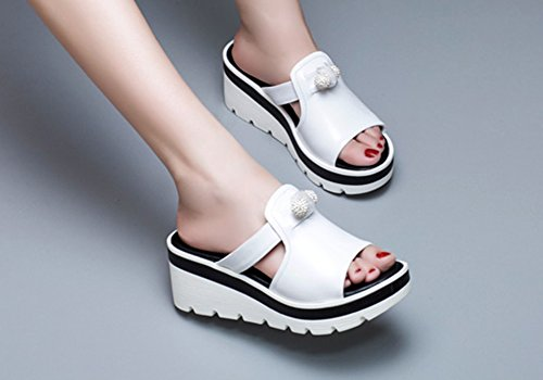 Waterproof Slippers Leather Thick Sandals Bottom ZCJB Wear Slippers Slope Mouth Fish Outer Women's Fashion Woman White Platform Summer q5z05