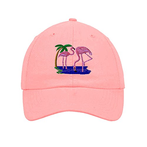 Closure 6 Panel Caps (Flamingos Animals Embroidery Twill Cotton 6 Panel Low Profile Hat Soft Pink)
