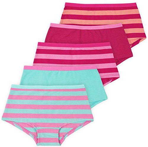 (Lucky & Me Annika Girls Boyshort, 5-Pack, Pink & Blue Underwear Set, Tagless, 7/8)