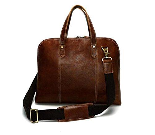 viaggio coffee in brown tracolla borsa in borsa vintage messenger pelle shopping SHOUTIBAO color resistente Cartella lavoro indossabile lucida e pelle da uomo qxw1tHntZS